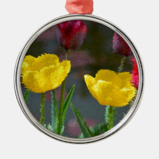 Tulips polychrome flowering, photo extrudes, metal ornament