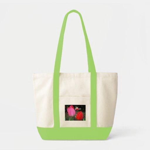 tulips, rain drops canvas bags