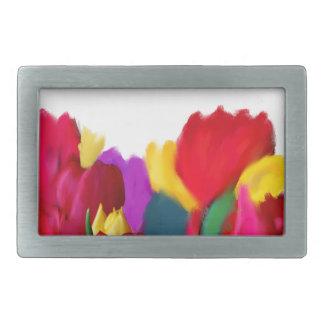 Tulips Rectangular Belt Buckle