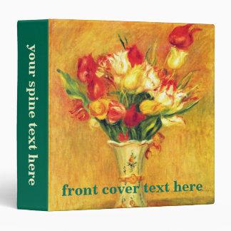 Tulips Renoir Vintage Flowers Floral Impressionism 3 Ring Binders