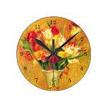 Tulips Renoir Vintage Flowers Floral Impressionism Round Wallclocks