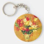Tulips Renoir Vintage Flowers Floral Impressionism Key Chains