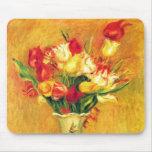 Tulips Renoir Vintage Flowers Floral Impressionism Mousepad