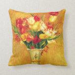 Tulips Renoir Vintage Flowers Floral Impressionism Pillow