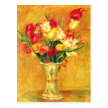 Tulips Renoir Vintage Flowers Floral Impressionism Postcard