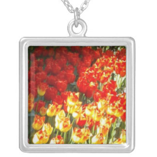 Tulips Square Pendant Necklace