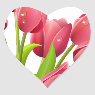 Tulips Heart Stickers