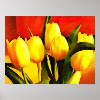 Tulips Still Life (oil paint style) Poster