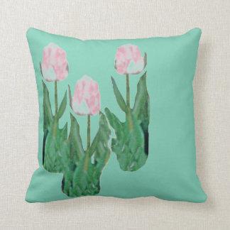 Tulips Three-Pink Throw Pillow