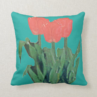 Tulips Three-Red Throw Pillow