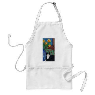 Tulips, Tuxedo Cat and A Mouse! Folk Art Adult Apron