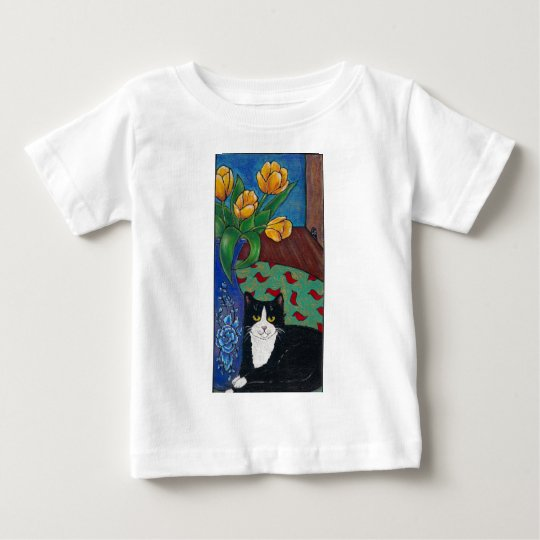 Tulips, Tuxedo Cat and A Mouse! Folk Art Baby T-Shirt