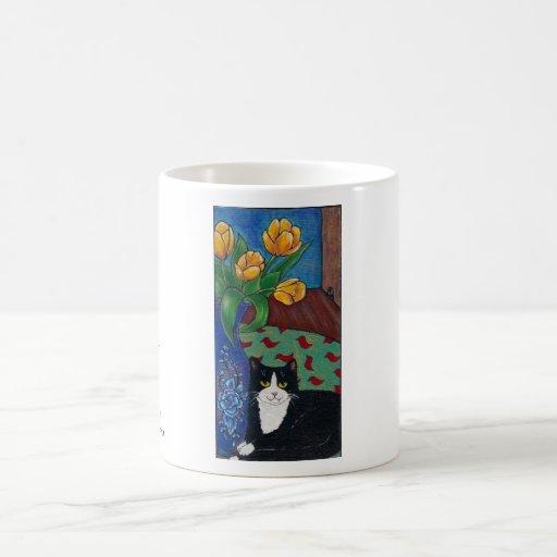 Tulips, Tuxedo Cat and A Mouse! Folk Art Coffee Mug
