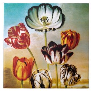 Tulips under the sky Tile