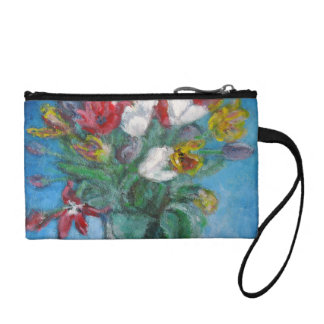 Tulips Vase in a Blue Room Floral Coin Wallet