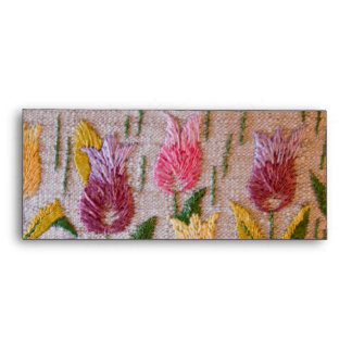 Tulips vintage embroidery envelopes