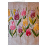 Tulips vintage embroidery greeting card