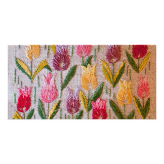 Tulips vintage embroidery photo card template