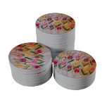 Tulips vintage embroidery poker chip set