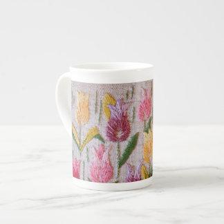 Tulips vintage embroidery tea cup