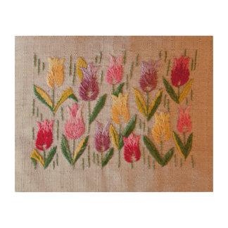 Tulips vintage embroidery wood print