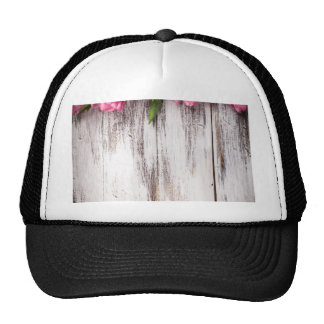 Tulips vintage white painted wood wall trucker hat