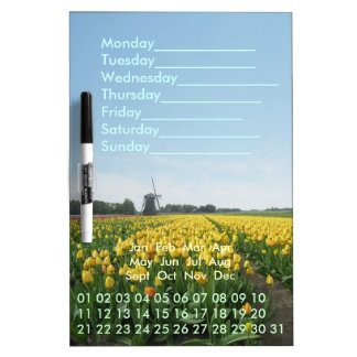 Tulips Windmill Perpetual Calendar Dry Erase Board