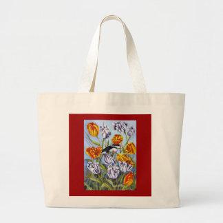 tulips with bird bag