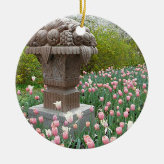 Tulips with Fruit Bowl Sculpture Double-Sided Ceramic Round Christmas Ornament