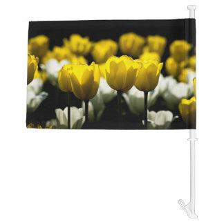 Tulips Yellow And White Car Flag