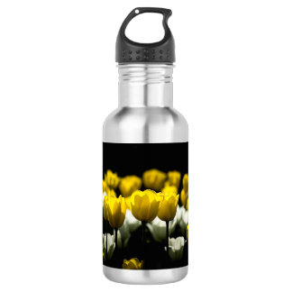 Tulips Yellow And White Stainless Steel Water Bottle