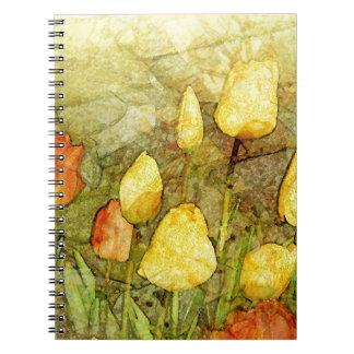 Tulips Yellow Orange Spiral Note Books