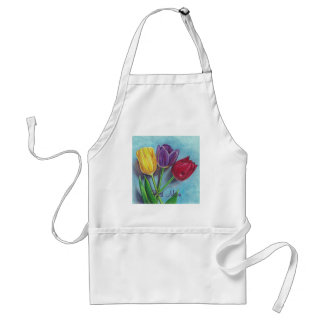 Tulips Yellow Red Violet Art Print Adult Apron