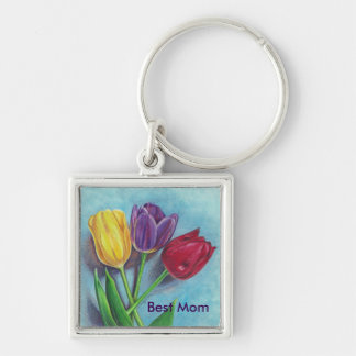 Tulips yellow red violet art Print Keychain