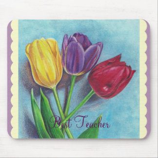 Tulips Yellow Red Violet Art Print Mouse Pad