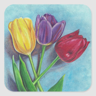 Tulips yellow red violet art Print Square Sticker