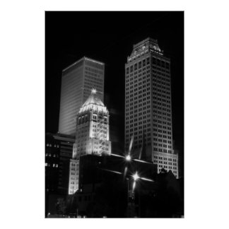 Tulsa After Dark black and white 2010 Poster