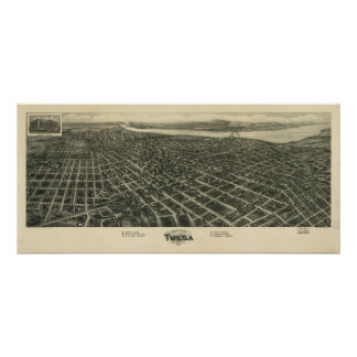 Tulsa Oklahoma 1918 Antique Panoramic Map Posters