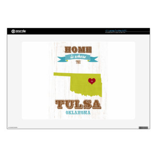 "Tulsa, Oklahoma Map – Home Is Where The Heart Is 15"" Laptop Skin"