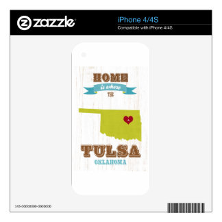 Tulsa, Oklahoma Map – Home Is Where The Heart Is iPhone 4 Skins