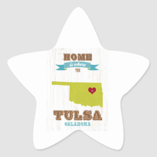 Tulsa, Oklahoma Map – Home Is Where The Heart Is Star Sticker