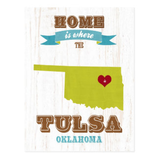 Tulsa, Oklahoma Map – Home Is Where The Heart Is Post Card