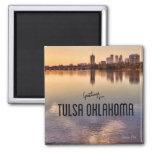 Tulsa Oklahoma Skyline 2 Inch Square Magnet