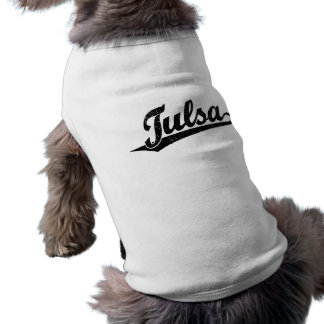 Tulsa script logo in black distressed shirt