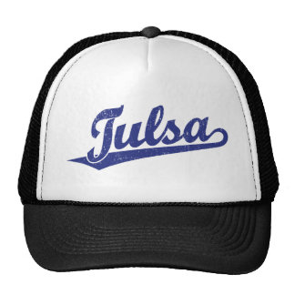 Tulsa script logo in blue distressed trucker hat