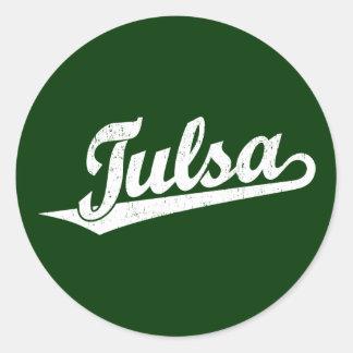 Tulsa script logo in white distressed classic round sticker