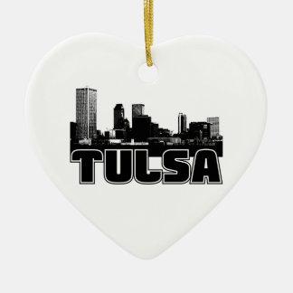 Tulsa Skyline Double-Sided Heart Ceramic Christmas Ornament