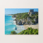 """Tulum Mayan Ruins Jigsaw Puzzle<br><div class=""""desc"""">Tulum holds the honor of being the most picturesque archaeological site in the Riviera Maya and the only one to have been built overlooking the ocean. A visit here offers spectacular views of the Riviera Maya beaches,  Caribbean Sea and surrounding coastal region.</div>"""
