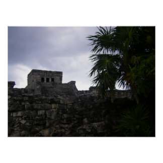 Tulum Mayan ruins Mexico art Poster