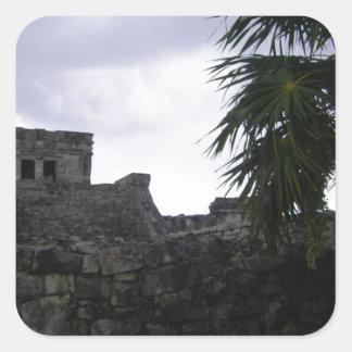 Tulum Mayan ruins Mexico Yucatan ruin Square Sticker